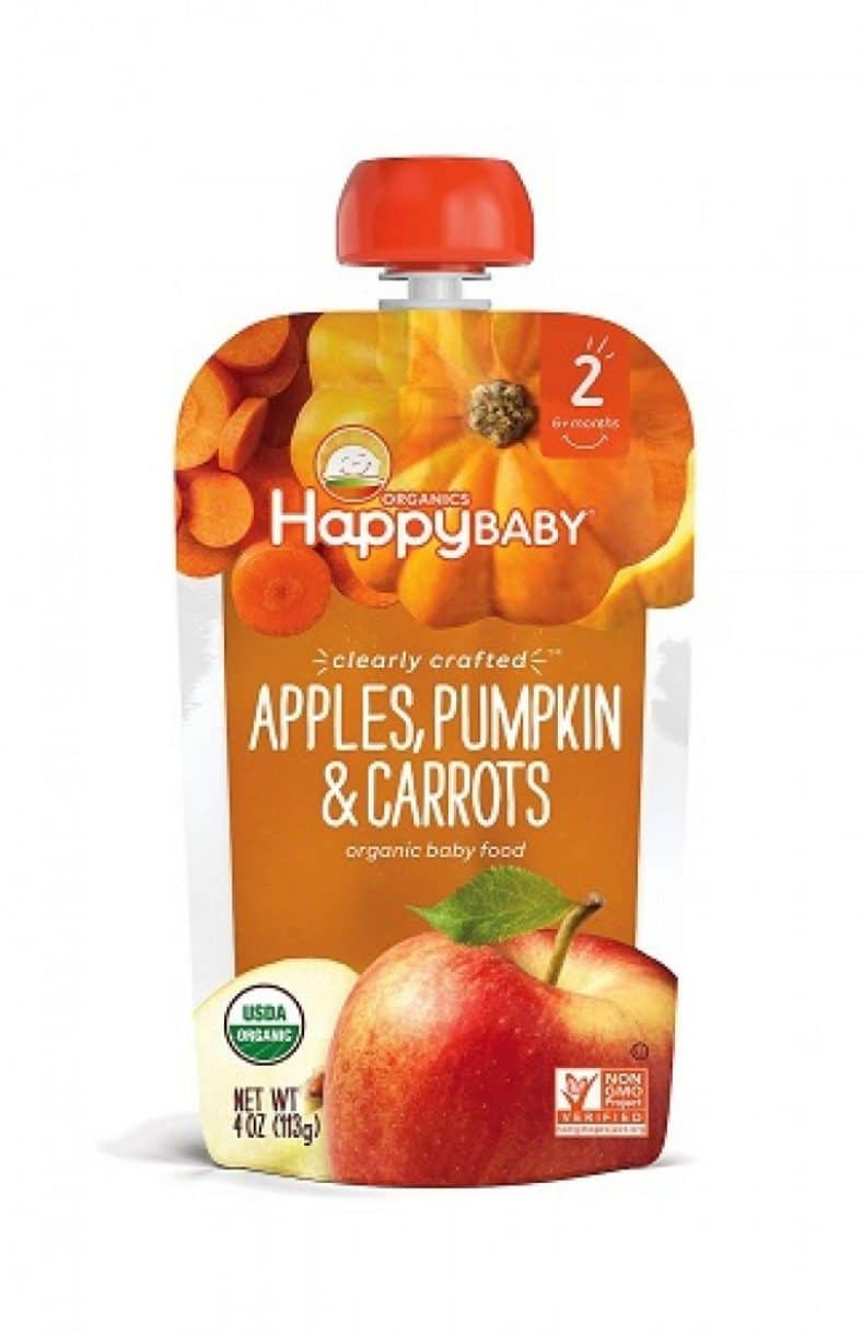 Happy Baby Clearly Crafted, Organic Baby Food, Stage 2, Apples, Pumpkin & Carrots, 4.0oz Clear Pouch (16 Count) 4