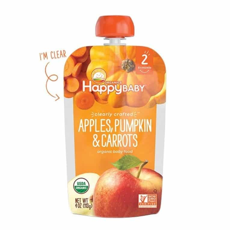Happy Baby Clearly Crafted, Organic Baby Food, Stage 2, Apples, Pumpkin & Carrots, 4.0oz Clear Pouch (16 Count 2