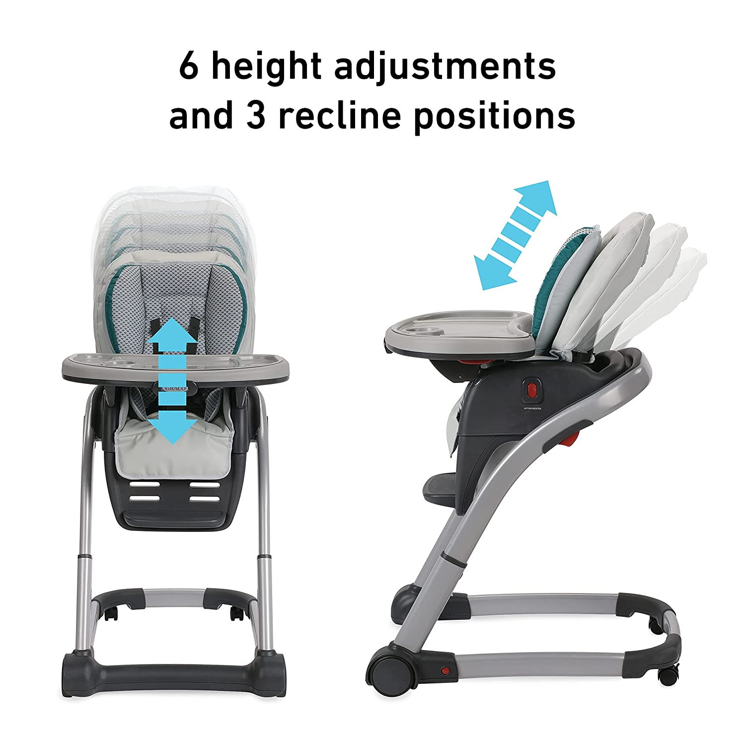 seat adjustment Graco Blossom 6 in 1 High Chair Reviews
