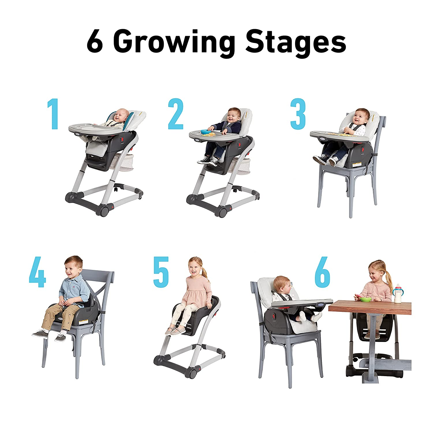 seating modes Graco Blossom 6 in 1 High Chair Reviews